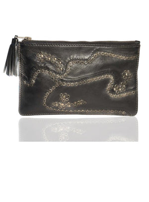 Clutch Bag With Rivets and Long Tassels