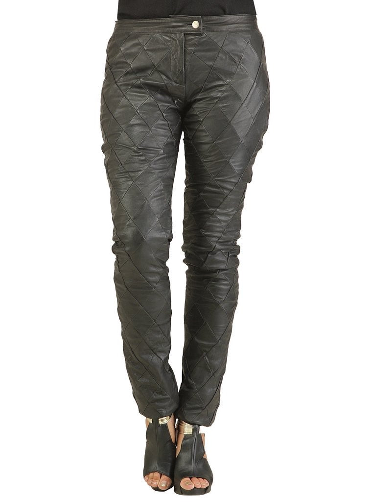 Leather Designer Diamond Patch Leather Pant