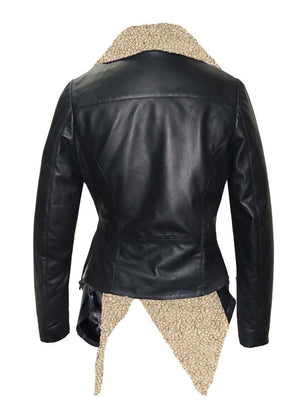 Leather Women Jacket With Faux Fur Collar Long coat