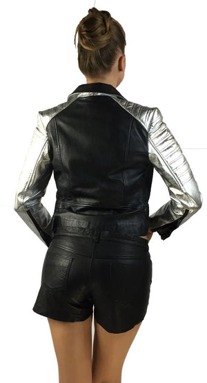 Leather Christmas Vintage Motorcycle Biker Women Jacket with Metallic Silver Padded Sleeve
