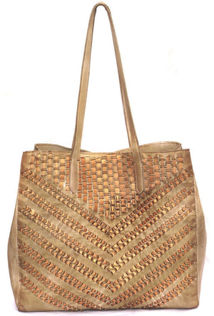 Vannmoda Leather Women Tote Bag With Metallic Leather Weave