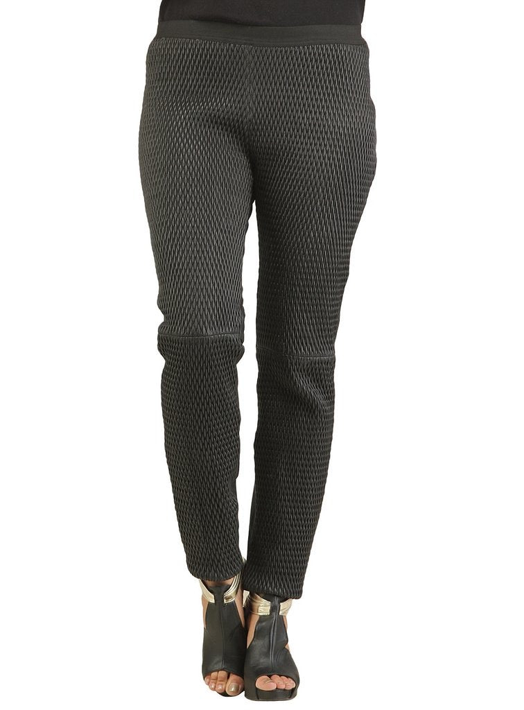 Designer Women Leather Leggings W/ Stretchable Quilting