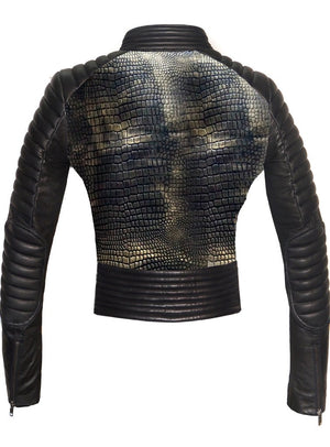 Women Croco Embossed Leather Motorcycle Moto Washed Jacket