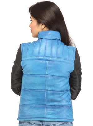 Women Hand Padded Best Seller Leather Puffer Jacket With Fabric Sleeve