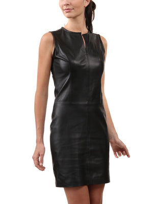 Women Leather Fitted Classic Dress