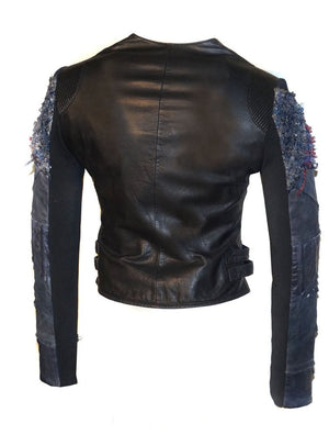 Women Lamb Leather Abstract Handcrafted Sleeve Dip Dyed Vintage Look Biker Jacket