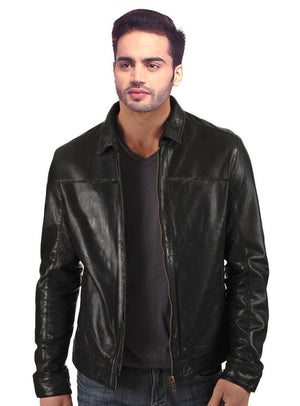 Men Washed Waxed Casual Leather Jacket With Classic Fit