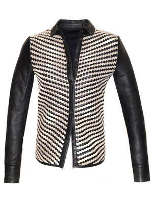 Vera Women Leather Shirt With Leather Contrast Weave