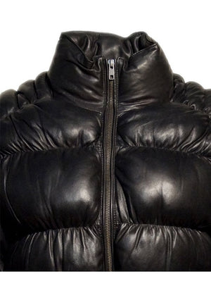 Designer Women Puffer Down Leather Jacket
