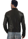 Men Washed Motorcycle Biker Leather Jacket with Diamond Padding at sleeves , Men Jacket - CrabRocks, LeatherfashionOnline  - 2