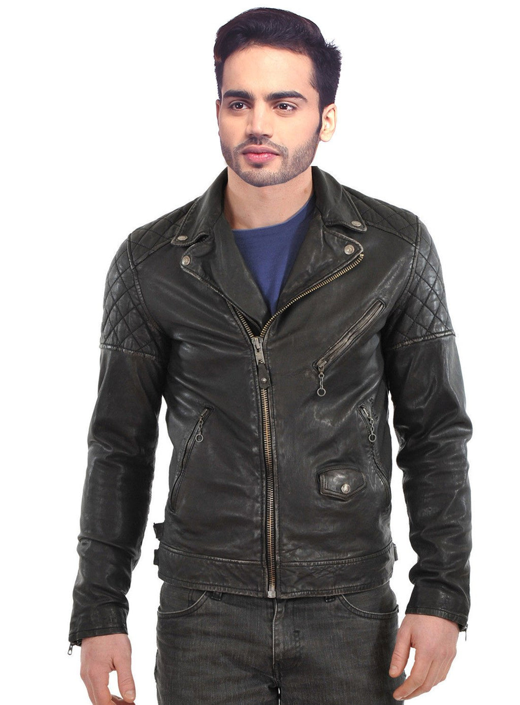Men Washed Motorcycle Biker Leather Jacket with Diamond Padding at sleeves XS / LEATHER / Black, Men Jacket - CrabRocks, LeatherfashionOnline  - 1