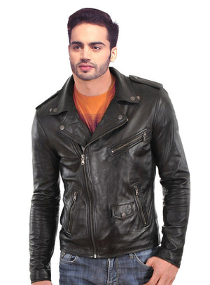 Men Washed Classic Motorcycle Biker Leather Jacket with multi Zipped Pockets 8MJ
