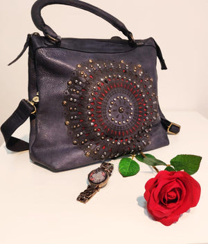 Embellished Across Body Leather Bag with Stud