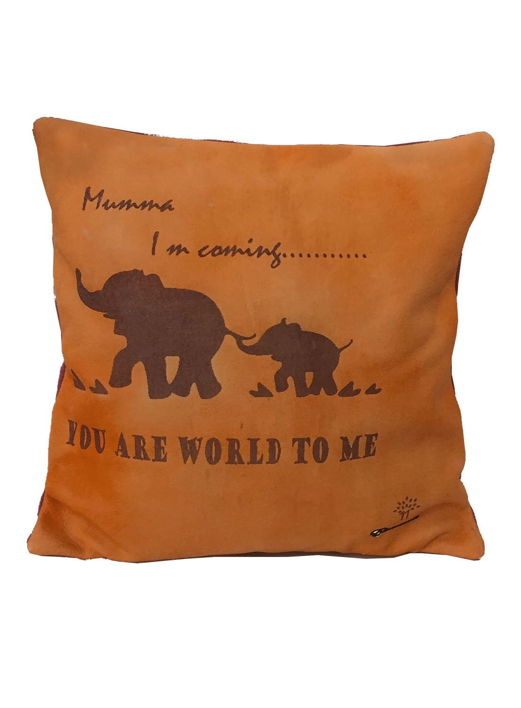"Venice Leather cushion cover ""I m coming"""
