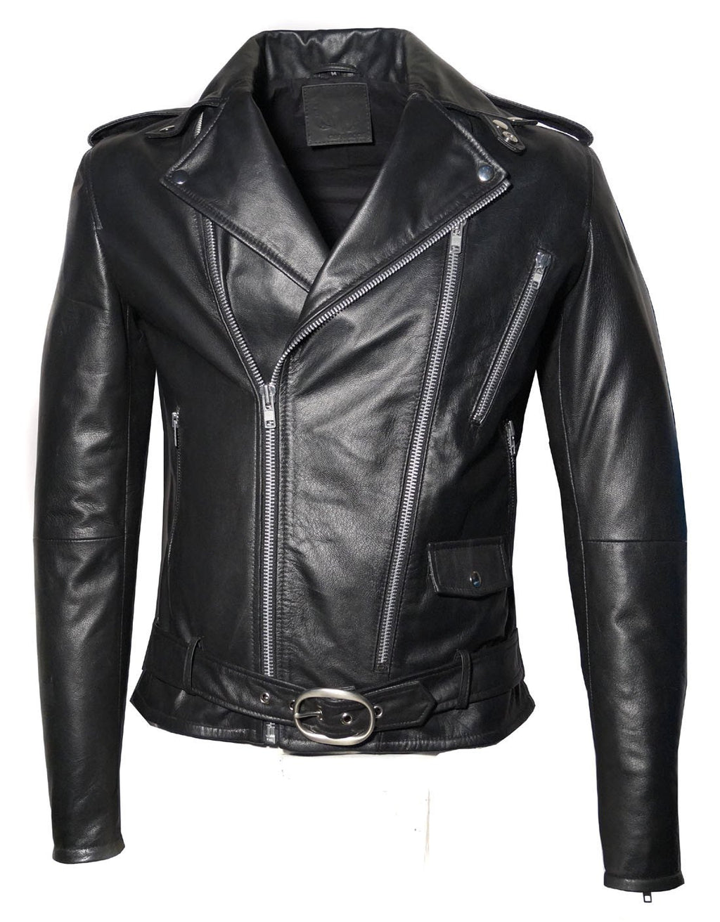 Men Washed Vintage Motorcycle Leather Jacket