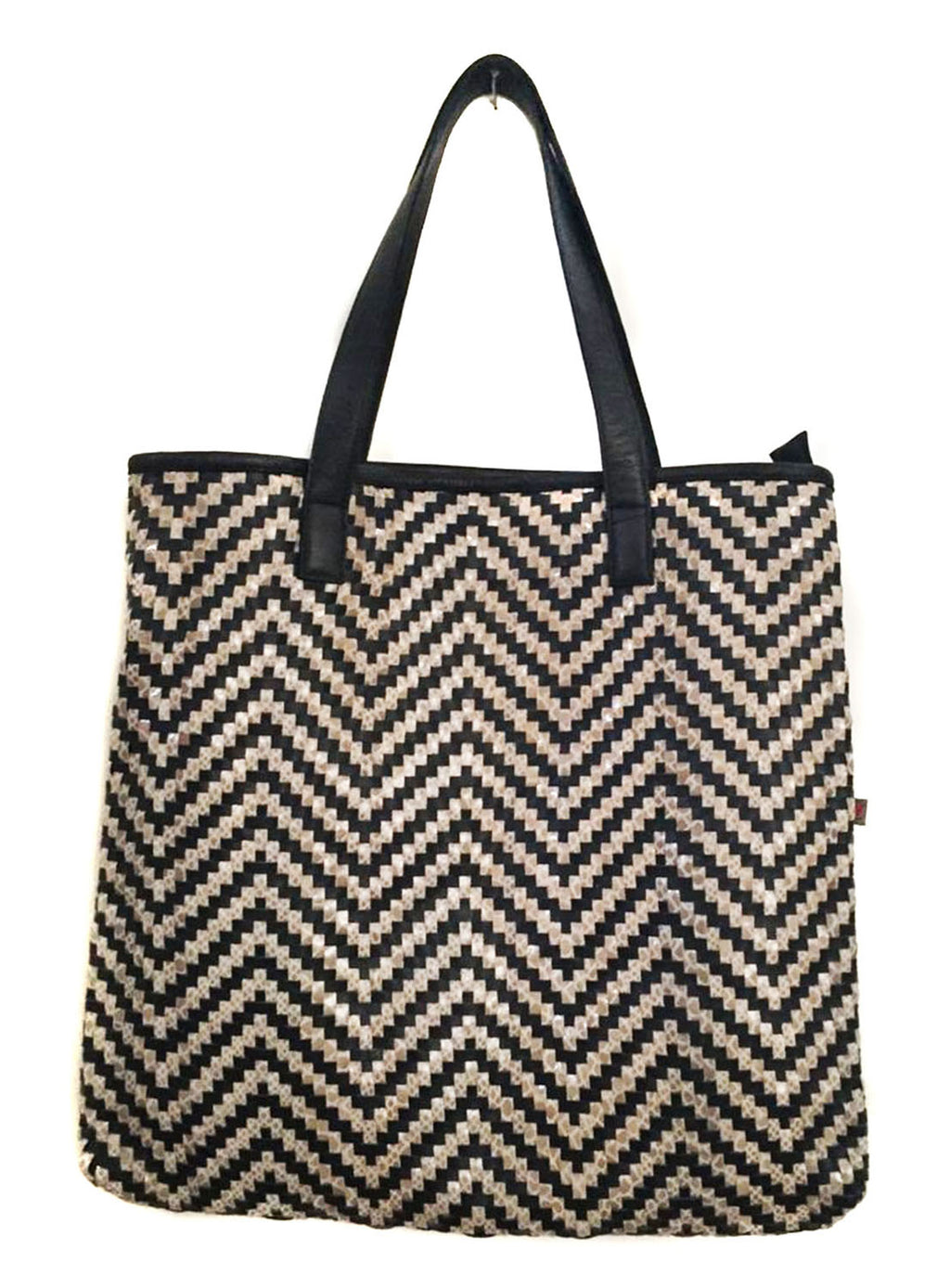 Byron Bay Woman Leather Woven Metallic Tote Bag