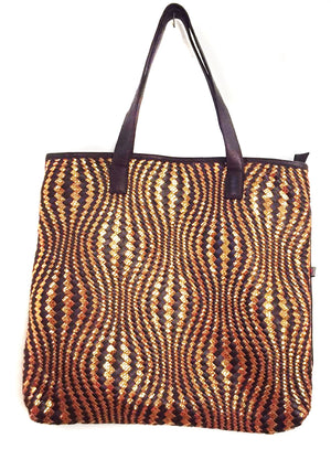 Hotseller Woman Leather Woven Tote Bag