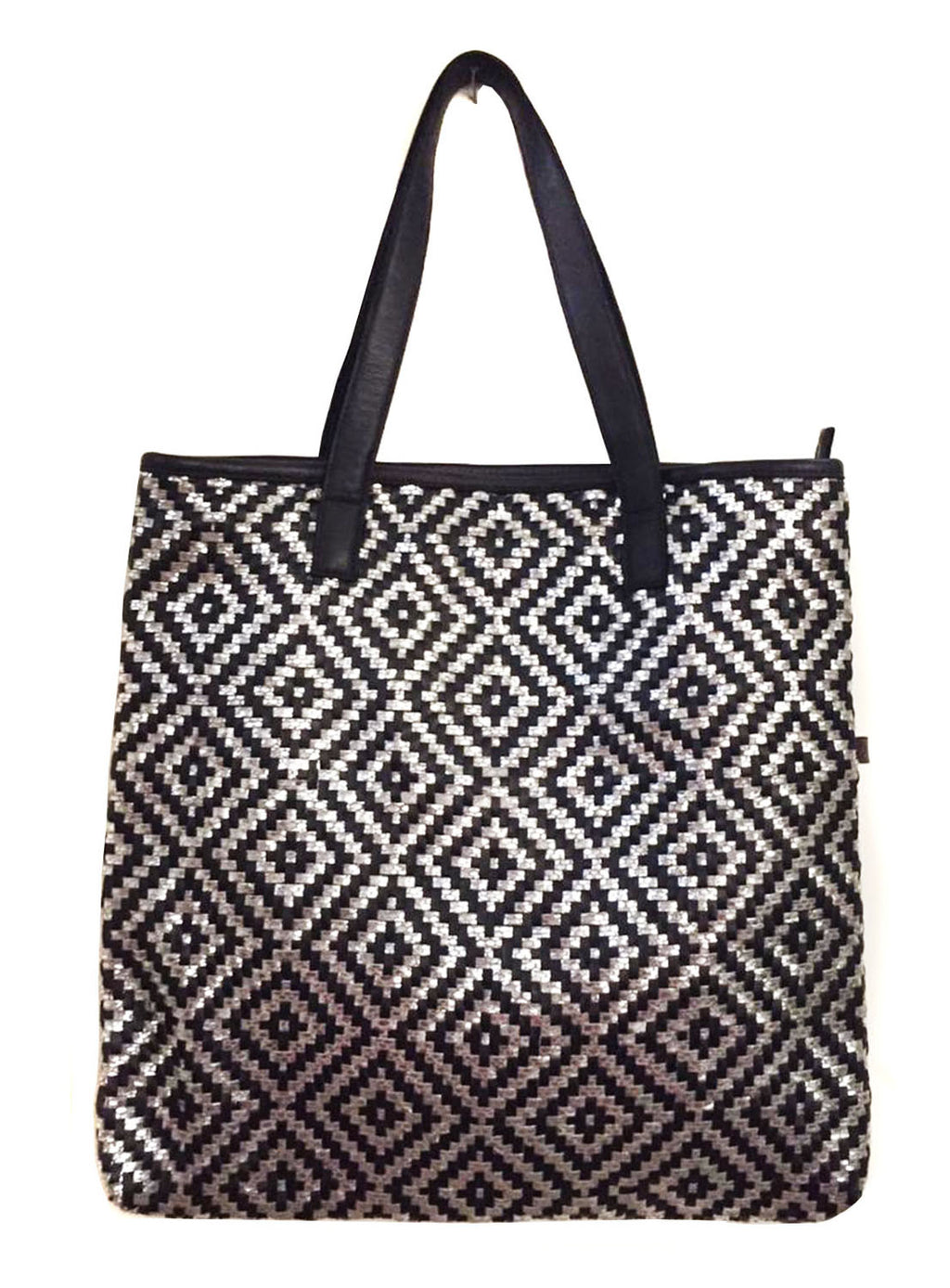 Australian Hotseller  Woman Leather Woven Metallic Tote Bag