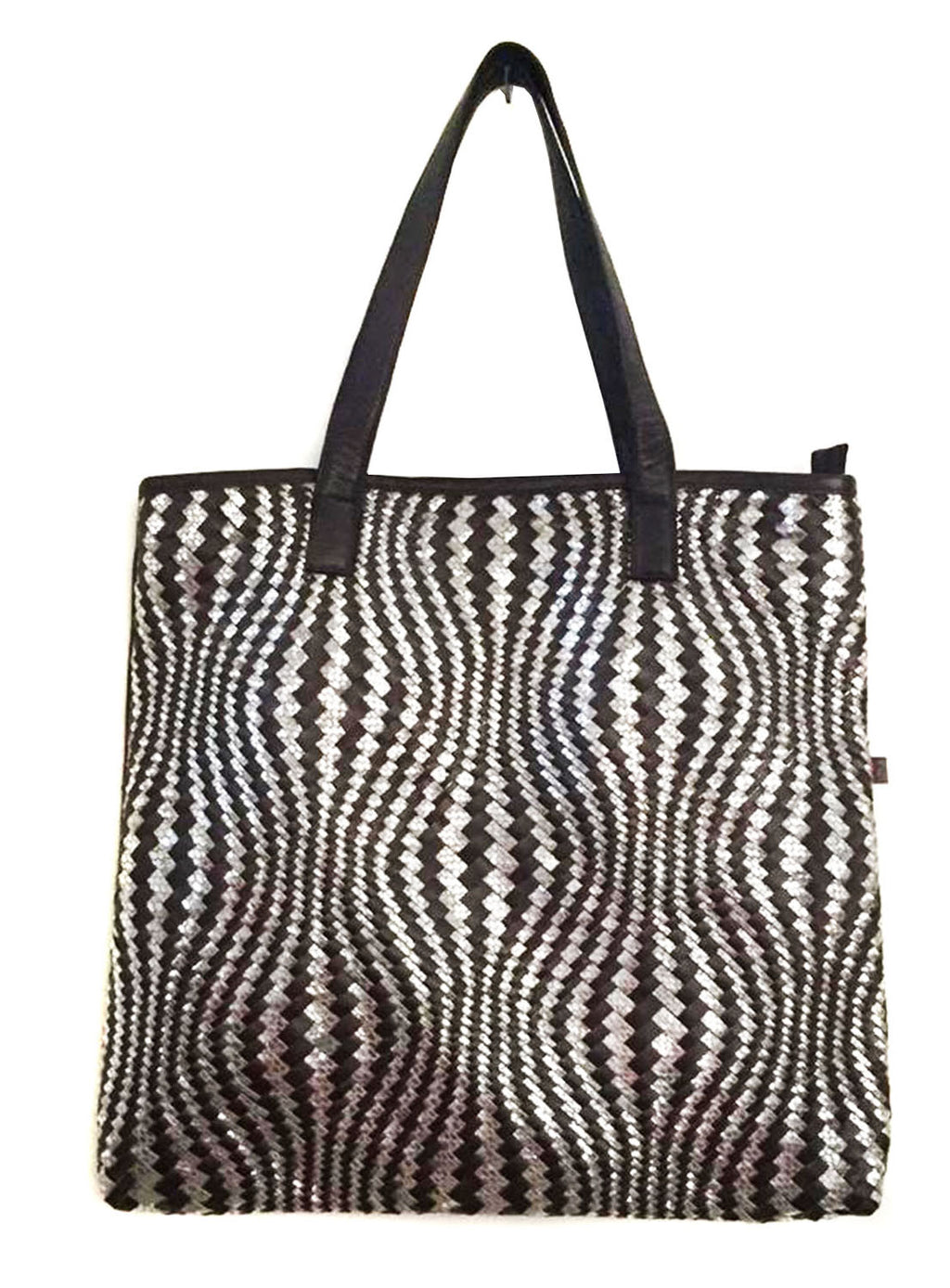 Hotseller  Woman Leather Woven Metallic Tote Bag