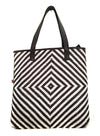 Sydney Woman Leather Woven Metallic Tote Bag