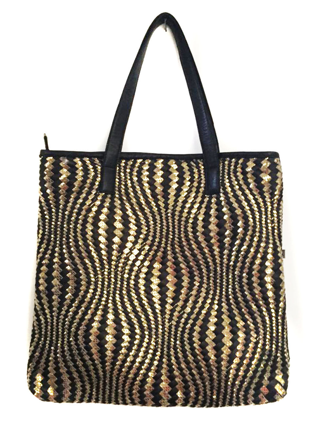 Cape Hotseller Woman Leather Woven Metallic Tote Bag