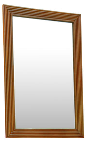 Fluted Teak Wood Mirror