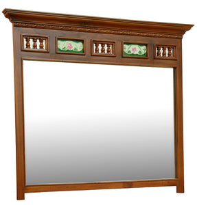 Colonial Teak Wood Mirror with Tiles.