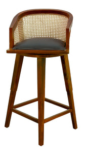 Revolving Cane Back Bar Stool