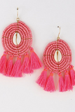Beaded Seashell Tassel Earrings