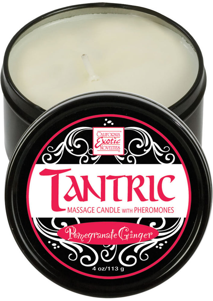 Tantric Massage Candle with Pheromones White Pomegranate Ginger 4oz.
