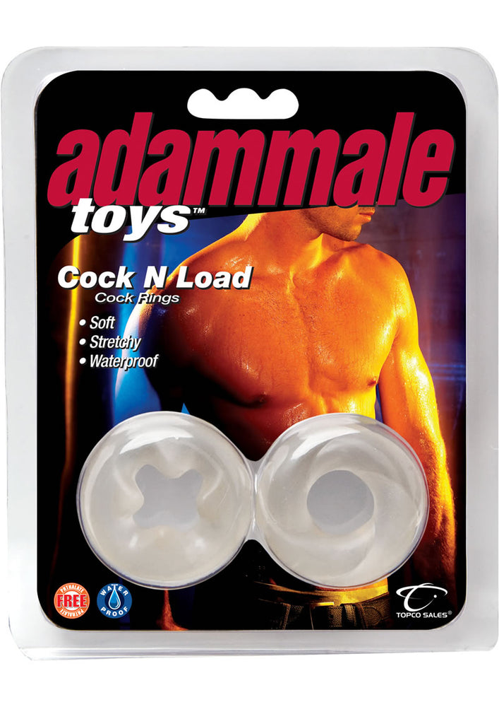 Adammale Cock N Load Cock Rings Waterproof Clear