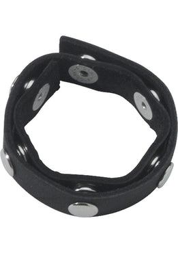 Super Speeds Cock Ring Six Speed Cock Ring With 6 Snaps Leather Black