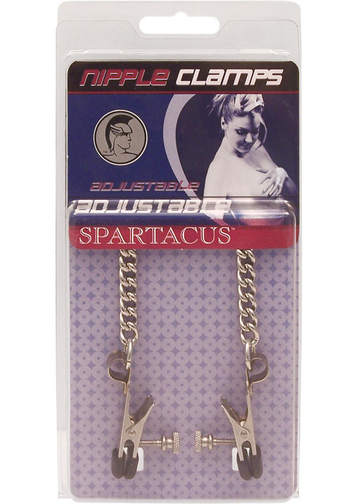 Adjustable Broad Tip Nipple Clamps With Loop And Link Chain Silver