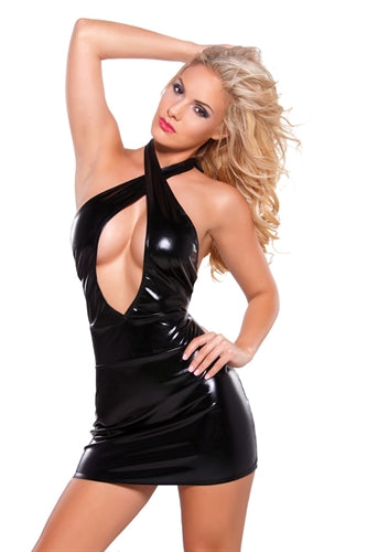 Kitten Wetlook Criss Cross  Dress - One Size -  Black