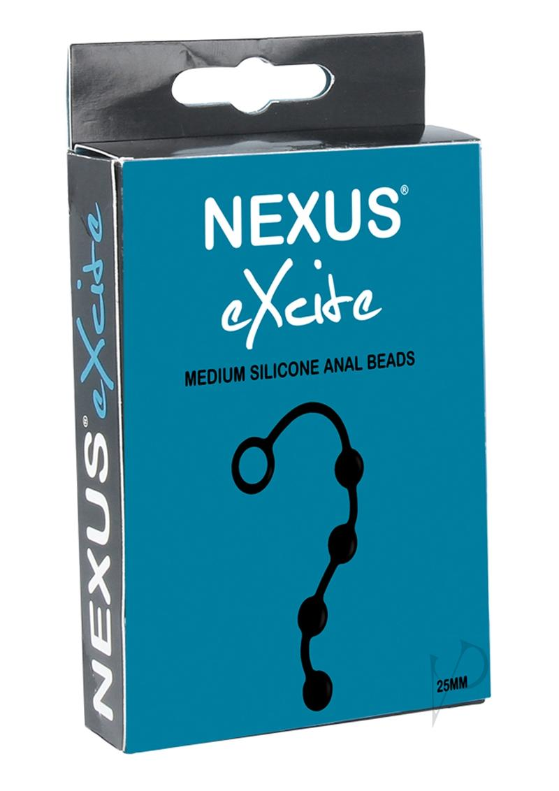 Excite Medium Silicone Anal Beads Black
