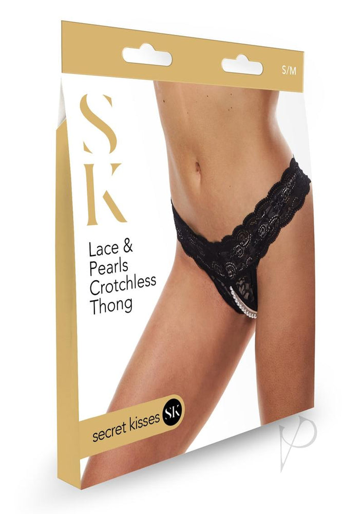 Sk Lace and Pearls Crotchless Thong S/m
