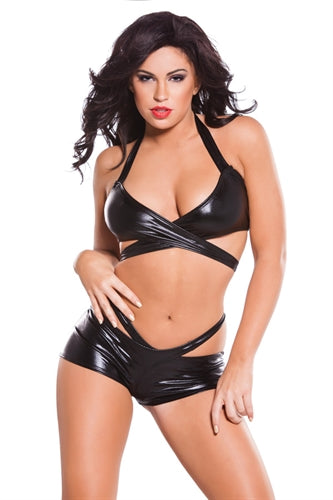 Kitten Wet Look Wrap Top and  Shorts Sets - Black  One Size