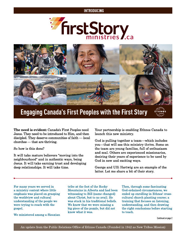 FirstStory Ministries Introduction Newsletter