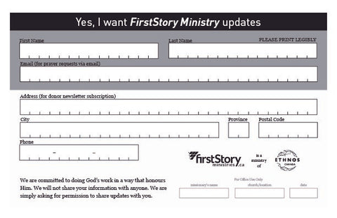 FirstStory Ministries - sign up pad