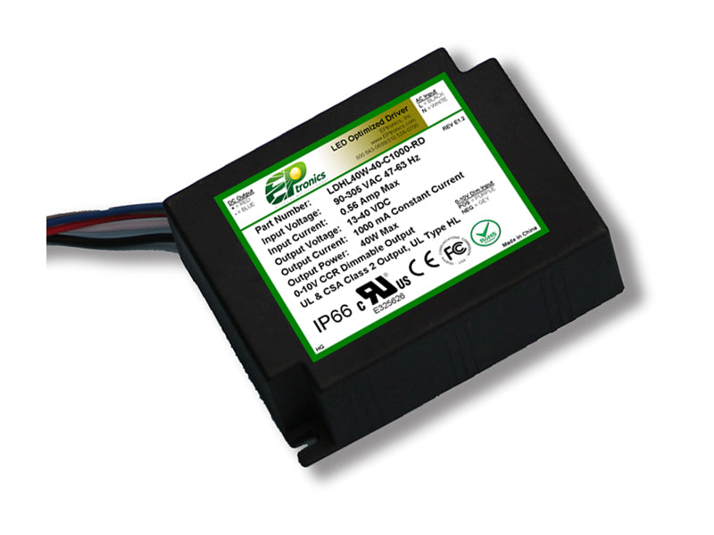 LDHL Series 40 Watt AC/DC LED Driver (Constant Current, Dimming Options, 347–480VAC Input, UL Recognized, Lead-out from Bottom) - LiteControls