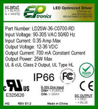 LD Series 25 Watt AC/DC LED Driver (Constant Voltage, UL Recognized)
