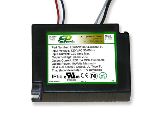 LD Series 40 Watt AC/DC LED Driver (Constant Current, Dimming Options, UL Recognized, Legacy)