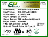 LD Series 40 Watt AC/DC LED Driver (Constant Current, 347–480VAC Input, Dimming Options, UL Recognized)