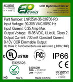 LNP Series 25 Watt AC/DC LED Driver (Constant Current, Dimming Options, UL Listed Class P, Low Cost)