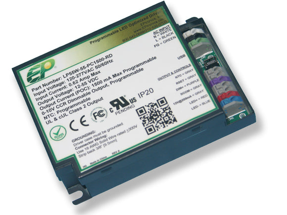 LP Series 55 Watt AC/DC LED Driver (Flicker Free, Programmable, Constant Current, Dimming Options, UL Recognized)