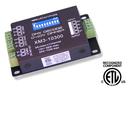 DMX Decoder or 0–10V Dimmer (1 Channel, ETL Recognized)