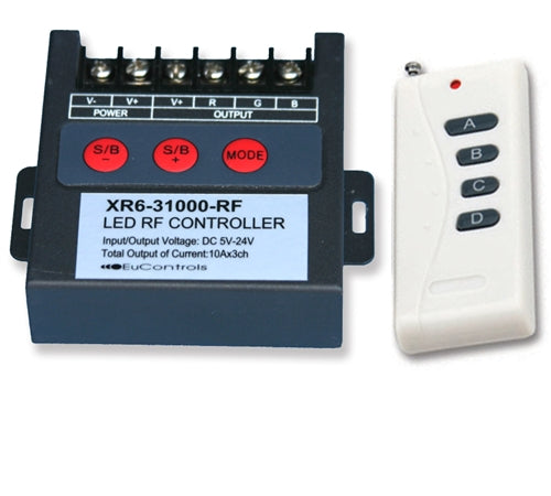 High Power LED Controller w/ RF Remote (3 Channels – RGB)