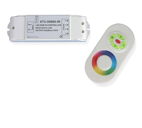 LED Controller w/ Color Wheel IR Remote (3 Channels – RGB)