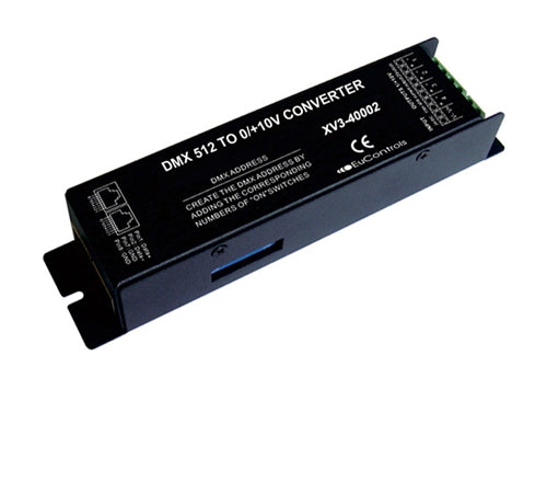 DMX to 0-10V Dimming Converter (4 Channels – RGBW, RJ45)