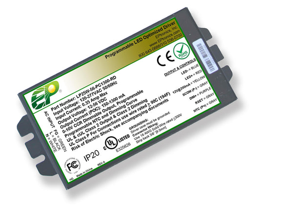 LP Series 25 Watt AC/DC LED Driver (Flicker Free, Programmable, Constant Current, Dimming Options, UL Recognized)